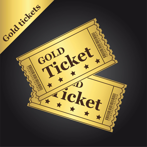 gold tickets over black background. vector illustration